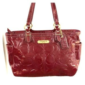 Patent Red Leather Coach Purse